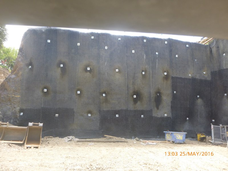Installed Passive Rock Dowels and Facing Mesh